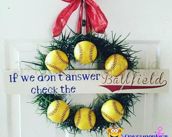Baseball Wreath, If we don't answer check the ballfield, Made from actual baseballs, Softball, Baseball, Personalized, Door Wreath