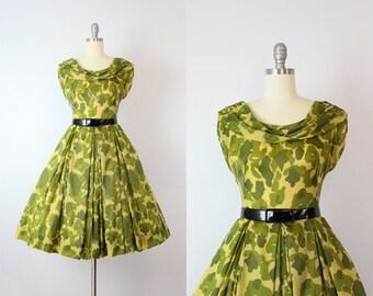 vintage 50s dress / rare 1950s military dress / camouflage dress / parachute sweetheart dress / victory dress / military bride dress