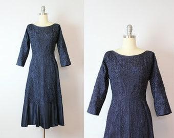 vintage 50s taffeta dress / 1950s soutache trim dress / navy blue cocktail dress / pleated hem dress / 50s party dress
