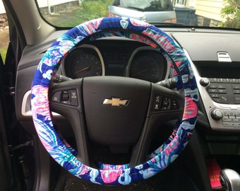 Steering Wheel Cover made with Lilly Pulitzer's bright navy Going Coastal fabric