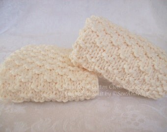 Wash Cloths, Face Cloths, Spa Cloths, Dish Cloths - Two Soft Ecru Hand Knit Cotton Cloths