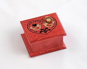 Engagement gift heart love birds red music box wooden tribal folk ethnic ornament Für Elise Beethoven