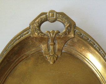 Antique French Brass Crumb Tray, Art Nouveau, Silent Butler. French Tableware