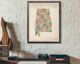 Alabama by County - Typography Print