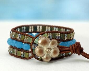 Josi... Leather wrap bracelet... Original OceanBead style.