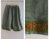 Upcycled Shrek the Musical Villager Costume Skirt, Renaissance Skirt, Dark Green Linen Skirt with brocade trim at hem, Youth Size