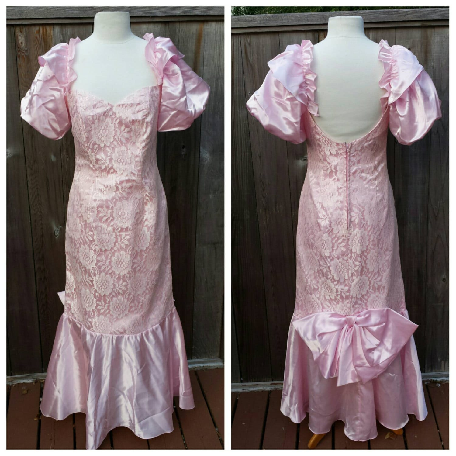 vintage clothing vintage 1980s pink lace and satin prom