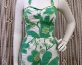Adorable 1950's green floral shelf bust play/swim suit
