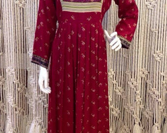 Beautiful boho 1970s floral ethnic hand-embroidered Woodstock-era festival maxi dress
