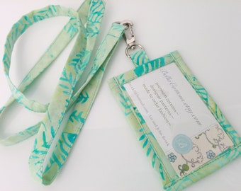 ID Holder Angel Fish Batik Cotton Clip On ID Holder with Hidden Cash Stash and Matching Lanyard