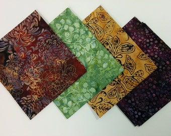 Beautiful Batik Cotton 4 PC Fat Quarter Set