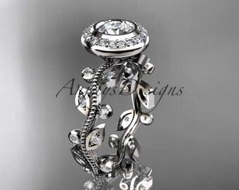 Platinum diamond leaf and vine wedding ring, engagement ring, ADLR212