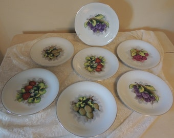 SET of SEVEN Vintage Hand-Painted Porcelain Berry Theme Plates by Rossetti Made in Occupied Japan Wall Decor Wedding Table Bridal Gift