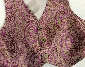 Boys Vest , boys purple vest, purple paisley vest for boys, vest for boys (Sizes available for 3 year to 8 year old)