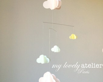 Baby mobile, clouds mobile, paper mobile. Pastel colors, pink, mint & yellow. Nursery decoration. Baby shower gift.