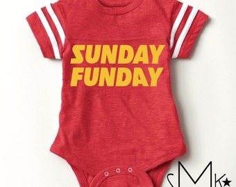 new* in Chiefs colors // Sunday Funday // football baby bodysuit // limited quantities
