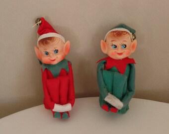 Holiday Elves Green and Red Felt Japan Vintage Ornaments