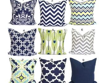 Navy Blue Pillows, Green Pillows, Blue Pillow Cover, Decorative Pillow, Green Pillow, Blue Pillow, Accent Pillow, Blue Euro Pillow, Cushion