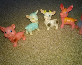5 Vintage Small Animal Baby Squek Toys