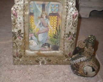 Amazing Vintage Frame and Perfume Bottle, French, Victorian, Hollywood Regency