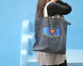 Superman Upcycled/Recycled Tote Bag from Broken Umbrella