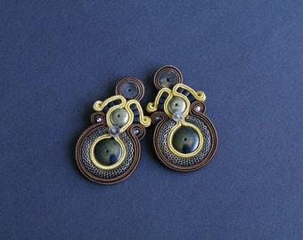soutache earrings, brown earrings, gift for woman, embroidery earrings, hippie earrings,summer earrings, gift for girl, mother's day