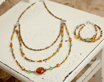 Amber Necklace, Amber and Green Necklace, Beaded Necklace, Amber Beaded Necklace,  Glass Bead Necklace, Glass Bead Bracelet