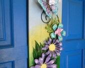 On reserve for Joanna, Floral Wall Hanging, Door Hanger, Metal Flower Art, Door Art, Patio Decoration, Hand Painted Art, Painted Wood