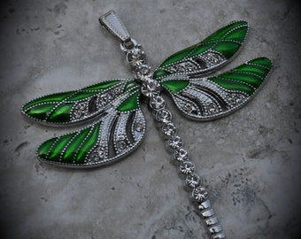 Silver Plated Large Dragonfly Pendant With Crystals And Enamel - Green