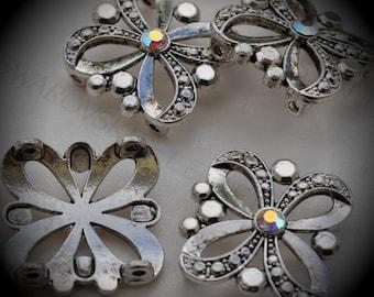 Large Genuine Silver Plated Swarovski Crystal Sliders Clear AB