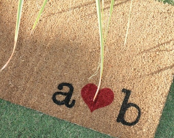 HEARTS & INITIALS DOORMAT …  Personalized ... Hand Painted Coir Mat with Your Initials... 2 Sizes