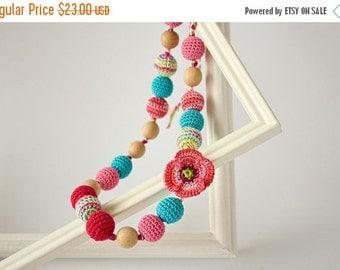 SALE Spring Flower Nursing Necklace Teething Necklace - Pink Blue - Shower Gift Breastfeeding Babywearing FrejaToys
