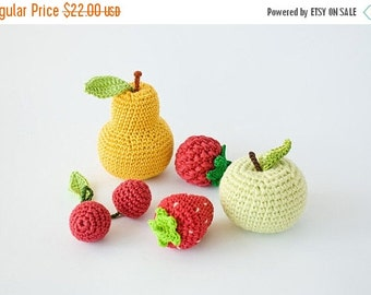 SALE Crochet Baby Rattles Fruit, Set of 5 - apple, pear, raspberry, srawberry, cherry - ecofriendly crochet toys