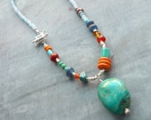 Turquoise Necklace, Multi Gem, Sterling Silver, Front Closure