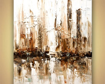 "Abstract Painting  original Downtown heavy Palette knife texture art Signed by Osnat Tzadok ready to hang 40""x48"""