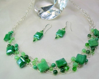 Green and Silver Crocheted Wire Jewelry Set, wire crochet necklace, handmade bead jewelry