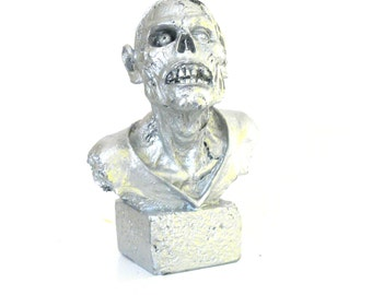 zombie head bust, teen decor, goth art, horror, metallic silver, bust statue, halloween statue