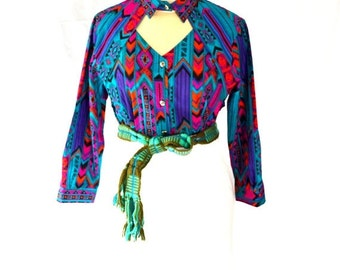ON SALE Vibrant Bright Colored Vintage Navajo Print Top