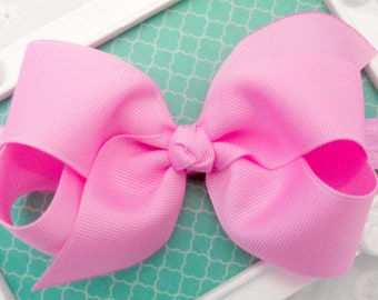 "Pink Bow Headband Bubblegum Pink Baby Bow Headband Pink Newborn Headband Medium 4"" Bow Headband Bright Pink Headband Pink Elastic Headband"