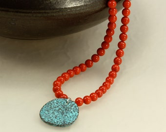 Red Coral Necklace with Greek Aged Copper Pendant, Red Necklace, Blue Green Pendant, Pendant Necklace, Beaded Necklace