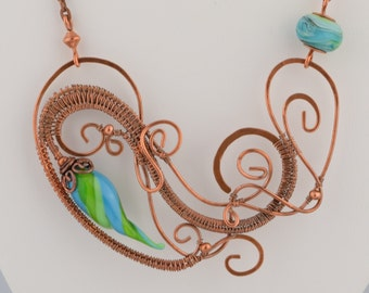 Sculptured Wire Pendant with Blue and Green Beads