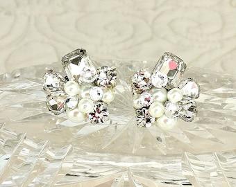 Bridal Earrings- Swarovski Bridal Studs-Art Deco Earrings- Rhinestone Earrings-Wedding Earrings-Vintage Inspired Studs-Pearl Bridal Earrings