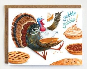Thanksgiving Card, Turkey Card, Pie Card
