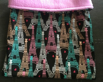 Eiffel Tower Cotton and Lilac Fleece Snuggle Bag