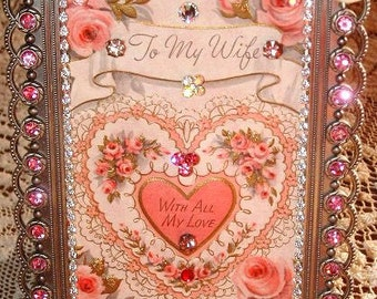 Vintage 1958 To My Wife With All My Love Framed Valentine Card ~ Embellished Jeweled Glittered Pink Roses Shabby Chic Cottage Charm