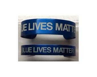 Bracelet- Blue Lives Matter- (Police Lives Matter, Support the Police, Police, Police Officer, Blue Line, Thin Blue Line, Law Enforcement)