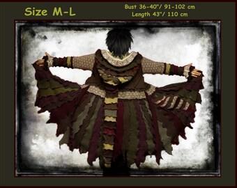 Elf coat, sweater coat, size M, size L, sweater coat, hoodie, green sweater, patchwork