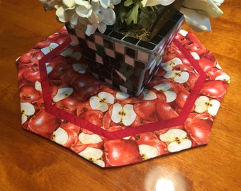 Handmade Round Red and White with Apple Design table runner by MarlenesAttic