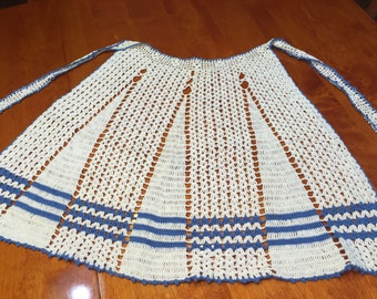 Vintage Hand crochet White and Blue apron by MarlenesAttic