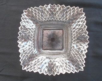 Clear Glass Candy Dish,Indiana Glass with Diamond Point, Ruffled Diamond Point Bowl